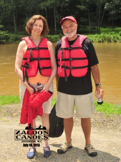 My lovely wife and me canoeing.